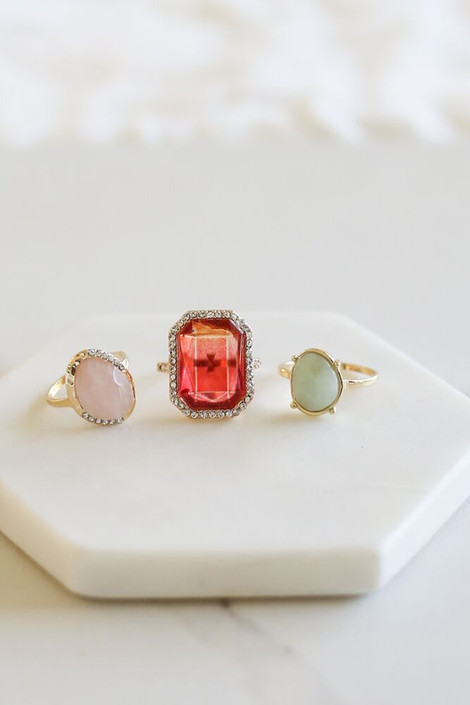 Gold - Stone Ring Set from Dress Up Boutique