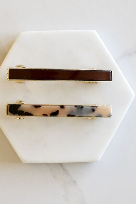 Burgundy - Tortoise Hair Barrette Set Flat Lay
