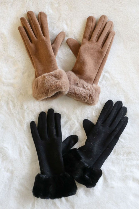 Taupe - Faux Fur Lined Gloves from Dress Up