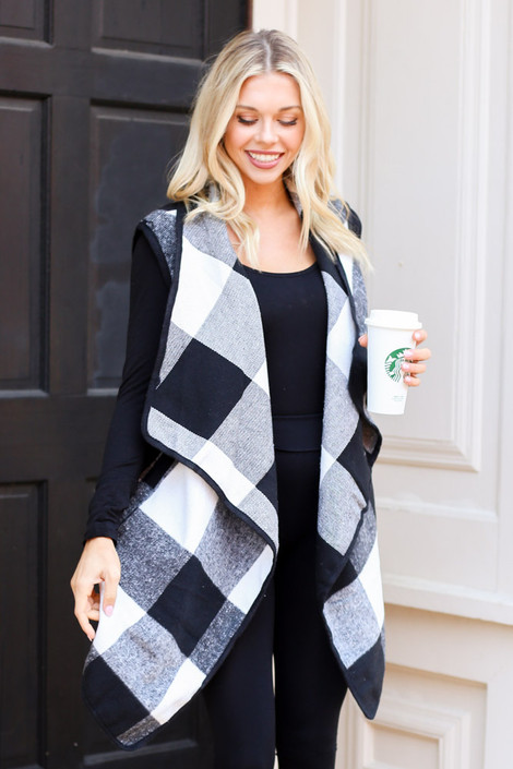 White - Buffalo Plaid Vest from Dress Up