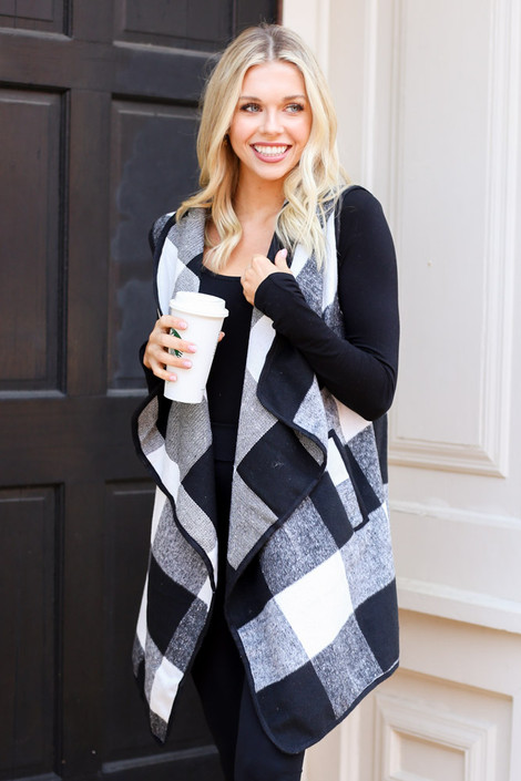 White - Buffalo Plaid Vest on model from Dress Up