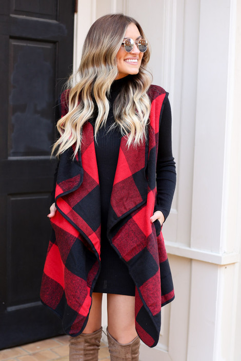Red - Buffalo Plaid Vest from Dress Up