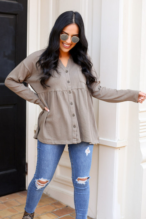 Olive - Button Down Babydoll Top on model with distressed jeans from Dress Up