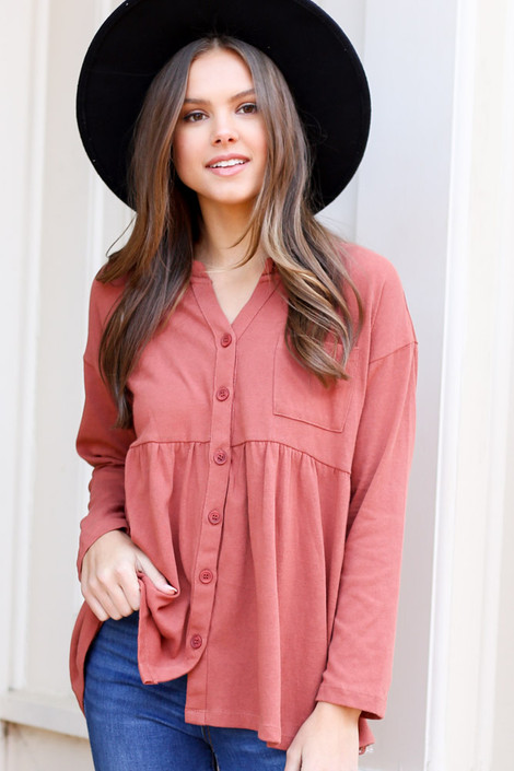 Rust - Button Down Babydoll Top on model with wide brim hat from Dress Up