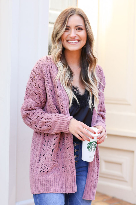 Mauve - Knit Chenille Cardigan from Dress Up