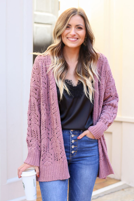 Model wearing the Knit Chenille Cardigan in Mauve from Dress Up with black lace tank