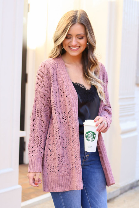 Mauve - Knit Chenille Cardigan from Dress Up on Model