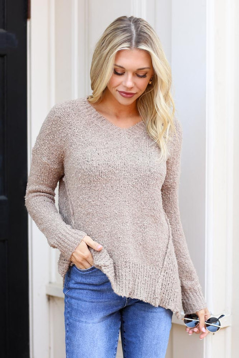 Taupe - Exposed Seam Sweater from Dress Up on Model