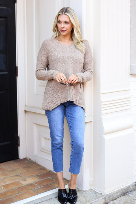 Exposed Seam Sweater from Dress Up on Model styled with ankle jeans and mules