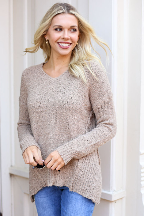 Taupe - Exposed Seam Sweater from Dress Up