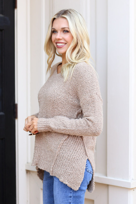 Taupe Exposed Seam Sweater from Dress Up on Model Side View