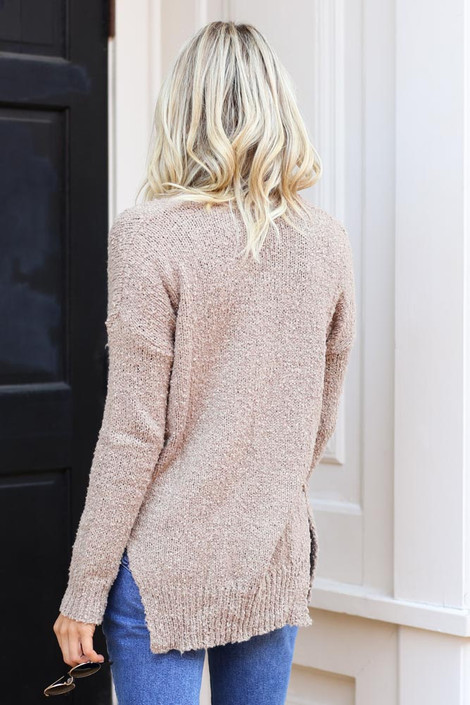 Taupe Exposed Seam Sweater from Dress Up on Model Back View