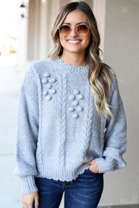 Heather Grey - Cable Knit Pom Pom Sweater from Dress Up