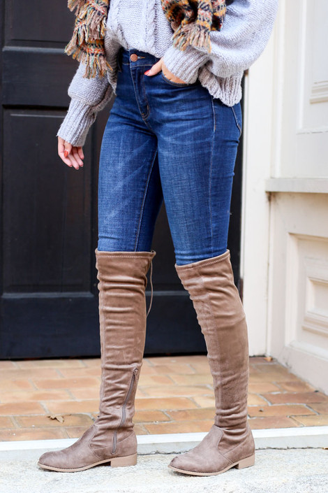 Taupe - Microsuede Over the Knee Boots from Dress Up on Model with Jeans
