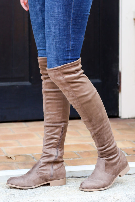 Taupe - Microsuede Over the Knee Boots from Dress Up