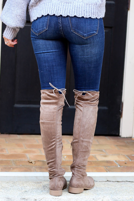 Taupe - Microsuede Over the Knee Boots from Dress Up Back View