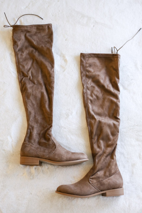 Taupe Microsuede Over the Knee Boots from Dress Up Flat Lay