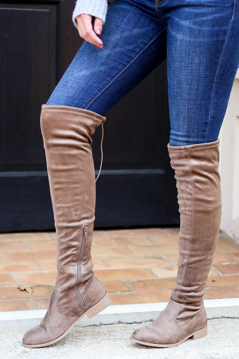 Microsuede Over the Knee Boots from Dress Up on Model with Jeans