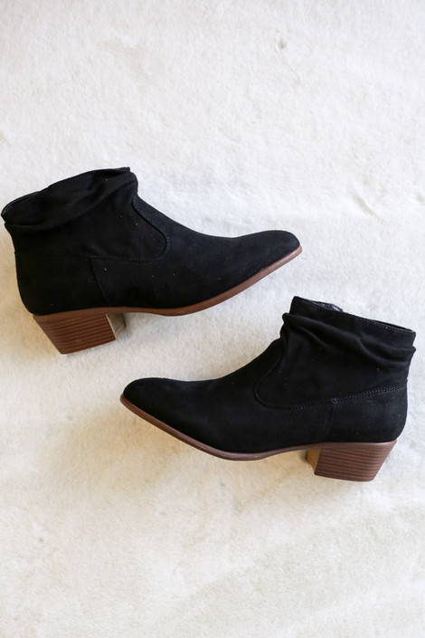 Black - Microsuede Slouch Booties form Dress Up Flat Lay