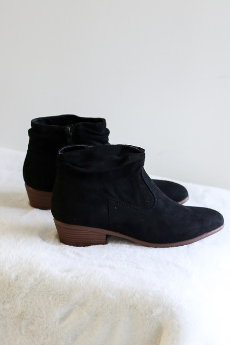 Flay Lay of Black Microsuede Slouch Booties from Dress Up