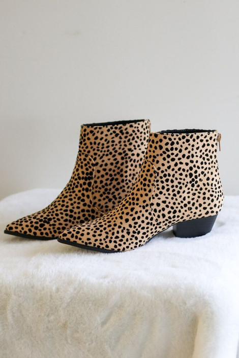 Tan - Cheetah Print Ankle Booties from Dress Up