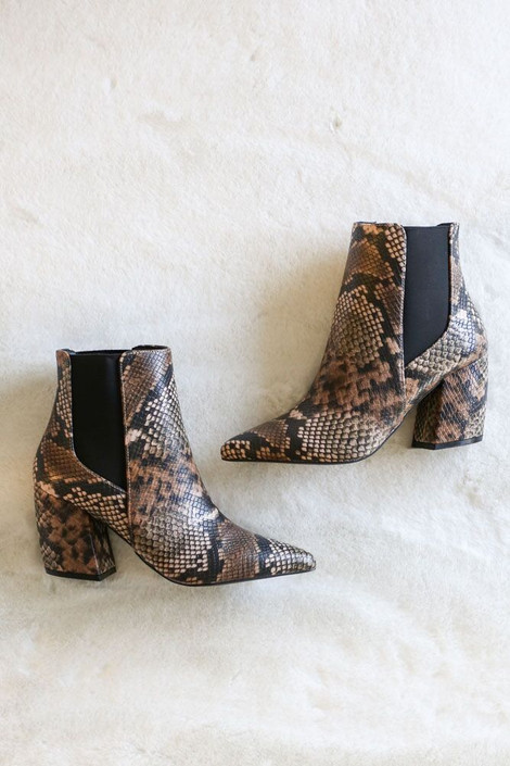 Brown - Snakeskin Block Heel Booties from Dress Up Boutique