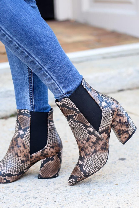 Model Close up of the Brown Snakeskin Chelsea Booties from Dress Up