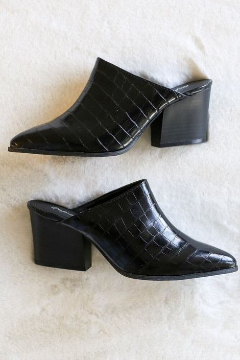 Black - Crocodile Heeled Mules Flat Lay from Dress Up