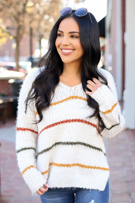 Ivory - Striped Eyelash Knit Sweater