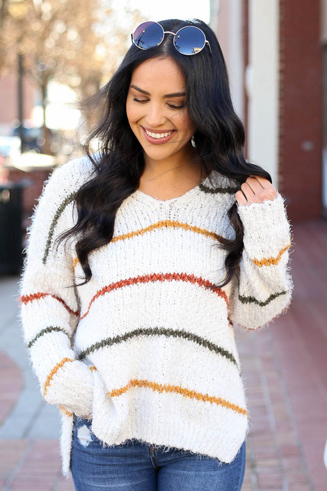 Ivory - Striped Eyelash Knit Sweater from Dress Up