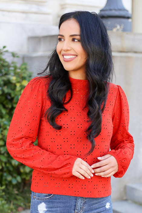 Rust - Mock Neck Eyelet Blouse from Dress Up