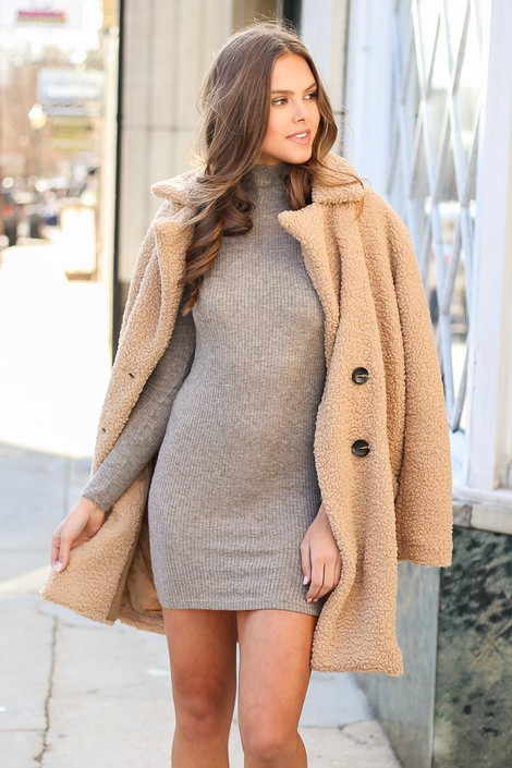 Brown - Ribbed Bodycon Dress from Dress Up
