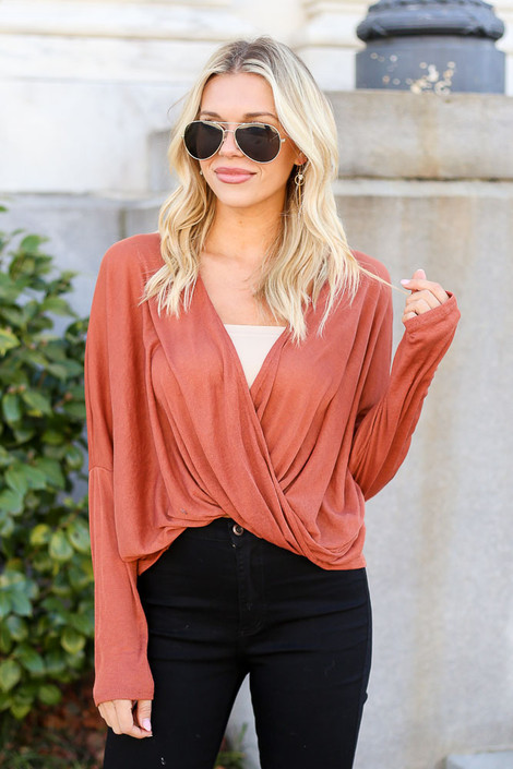 Rust - Drop Sleeve Surplice Top