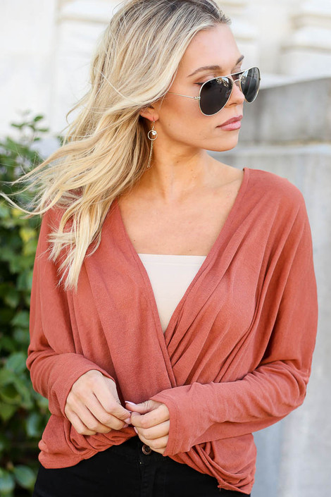 Rust - Drop Sleeve Surplice Top from Dress Up Boutique