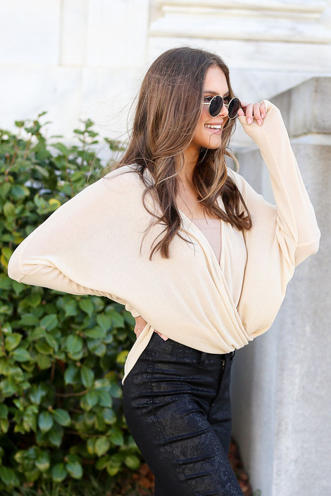 Taupe - Drop Sleeve Surplice Top Side View