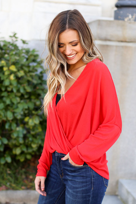 Red - Drop Sleeve Surplice Top from Dress Up Boutique