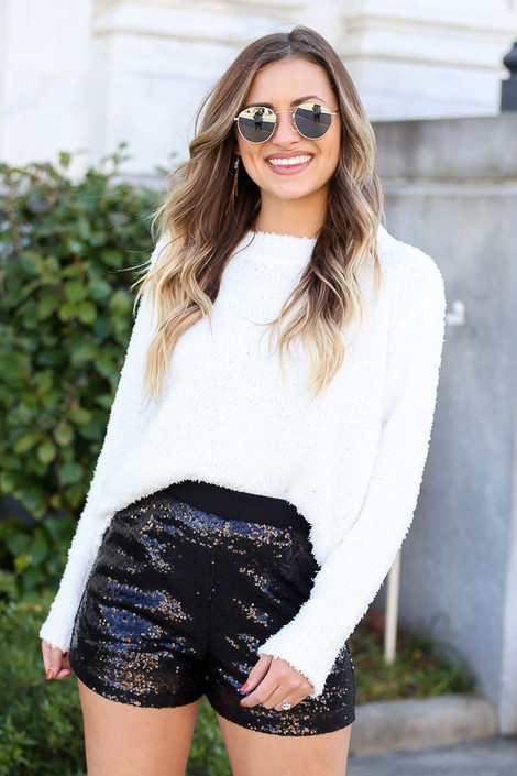 Model wearing Black Mid Rise Sequin Shorts New Years Eve Outfit from Dress Up Front View