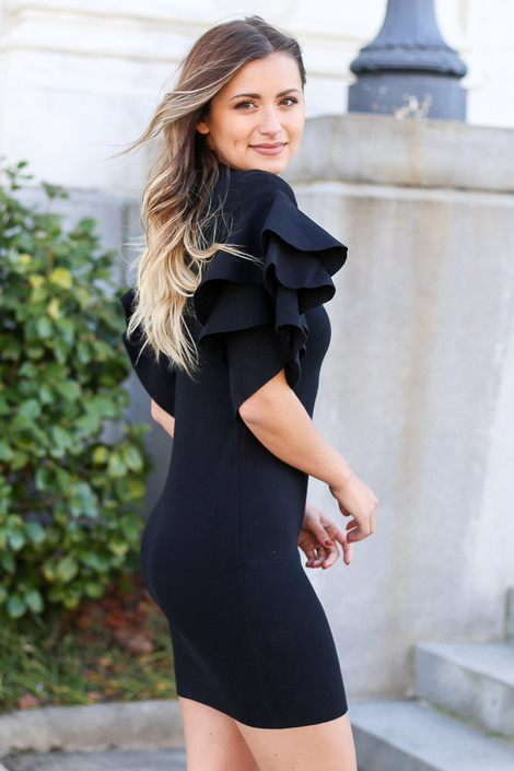 Black - Ruffle Sleeve Sweater Dress from Dress Up