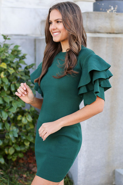 Olive - Ruffle Sleeve Sweater Dress from Dress Up