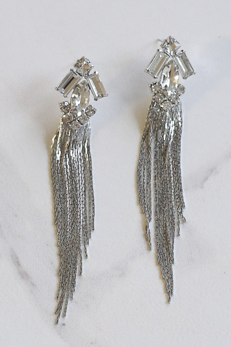 Silver - Rhinestone + Chain Drop Earrings