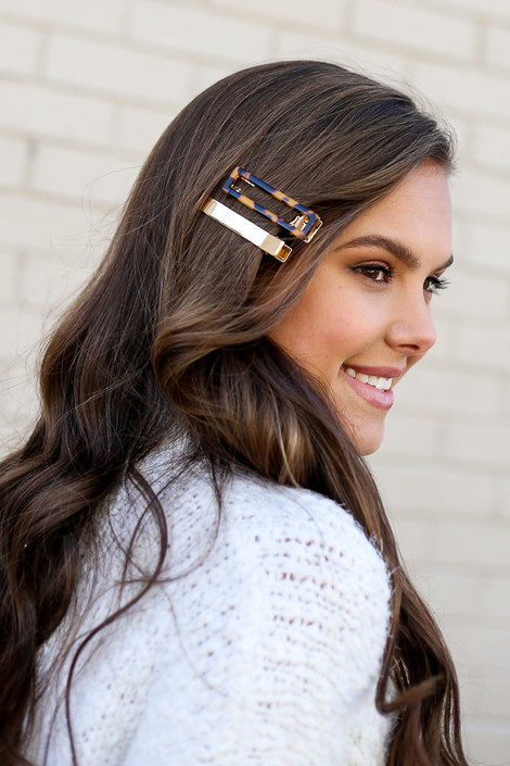 Gold - Amanda Hair Clip Set on model