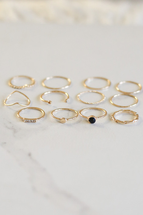 Gold - Gold Dainty Ring Set