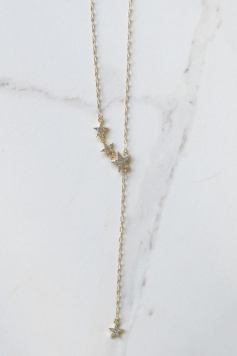 Rhinestone Star Drop Necklace from Dress Up Flat Lay Close Up