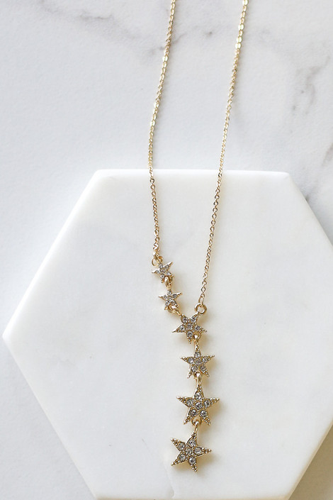 Gold - Rhinestone Star Pendant Necklace