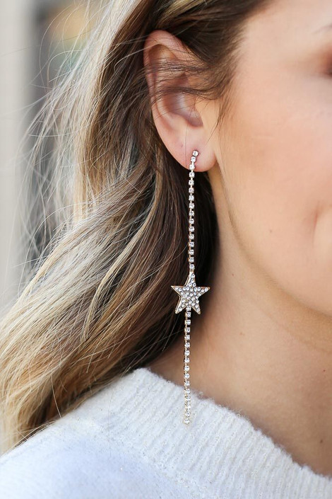 Gold - Rhinestone Star Drop Earrings