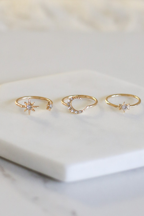 Gold - Star and Moon Ring Set Flat Lay