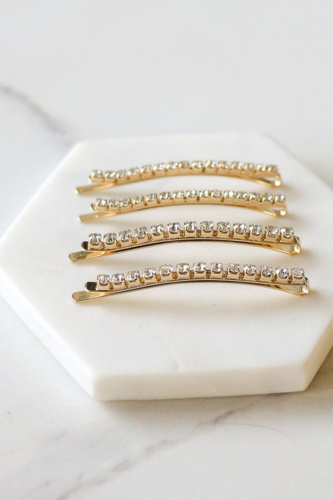 Flat Lay Gold Rhinestone Bobby Pin Set from Dress Up Side View