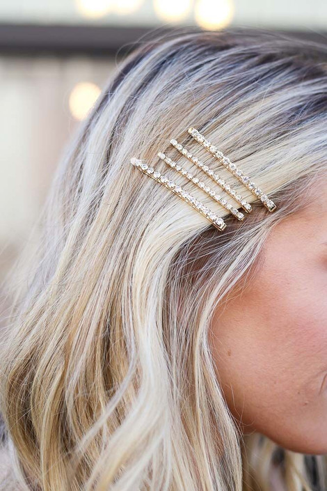 Gold - Rhinestone Bobby Pin Set