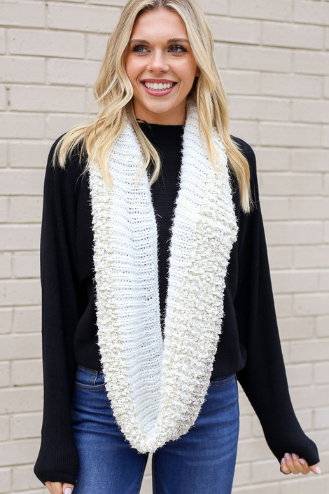 Ivory - Popcorn Knit Infinity Scarf on Model