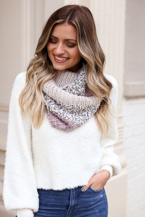 Blush - Popcorn Knit Metallic Infinity Scarf from Dress Up